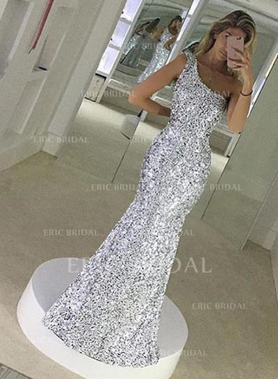 Trumpet/Mermaid Floor-Length Prom Dresses One-Shoulder Sequined Sleeveless (018146536)