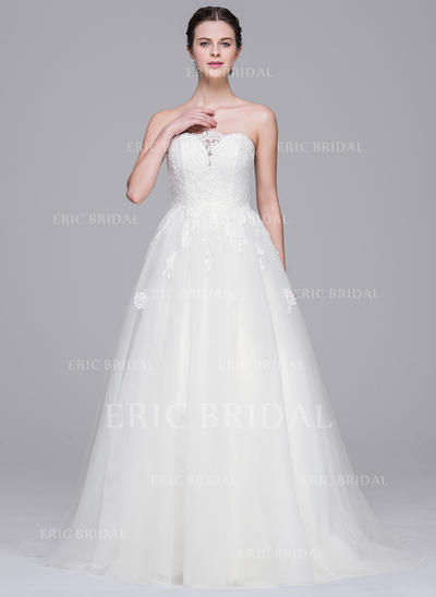 A-Line/Princess Sweetheart Sweep Train Wedding Dresses (002210665)
