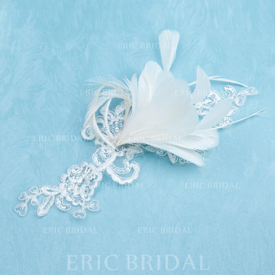 "Flowers & Feathers Wedding/Special Occasion Feather/Lace 8.66""(Approx.22cm) 7.87""(Approx.20cm) Headpieces (042153163)"