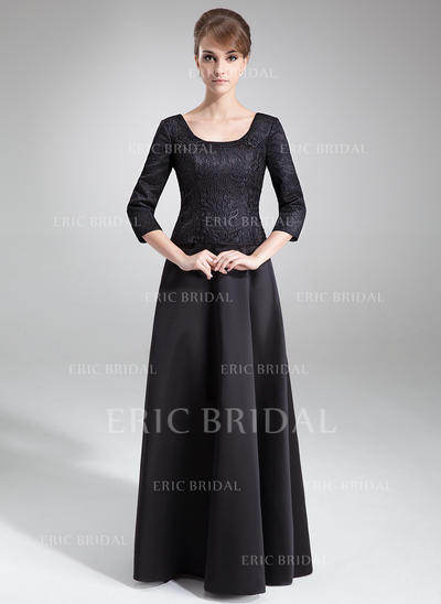 A-Line/Princess Satin Lace 3/4 Sleeves Scoop Neck Floor-Length Zipper Up Mother of the Bride Dresses (008211036)
