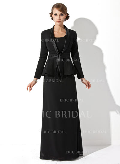 Sheath/Column Chiffon Sleeveless Scoop Neck Floor-Length Zipper Up Mother of the Bride Dresses (008211197)