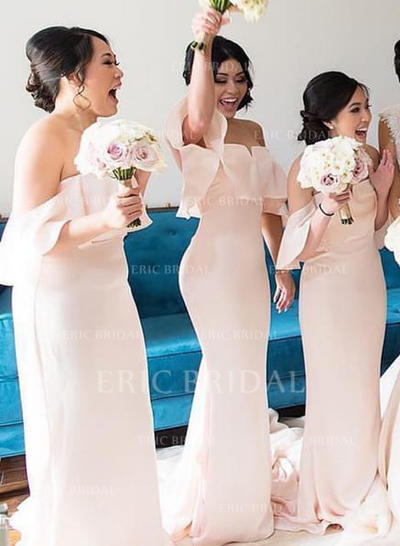 Trumpet/Mermaid Off-the-Shoulder Sweep Train Bridesmaid Dresses With Cascading Ruffles (007145059)