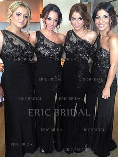 Sheath/Column Lace Jersey Bridesmaid Dresses One-Shoulder Sleeveless Floor-Length (007145041)