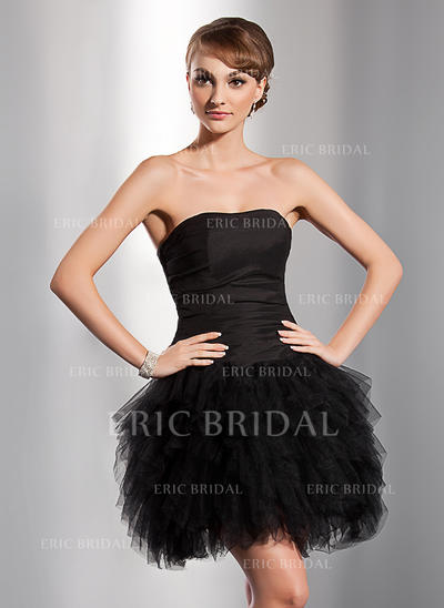 A-Line/Princess Sweetheart Short/Mini Homecoming Dresses With Cascading Ruffles (022014777)