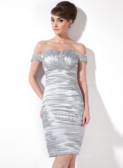 Sheath/Column Off-the-Shoulder Knee-Length Charmeuse Cocktail Dresses With Ruffle Beading Appliques Lace (016008476)