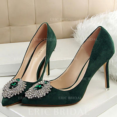 Women's Closed Toe Pumps Stiletto Heel Velvet With Rhinestone Others Wedding Shoes (047208066)