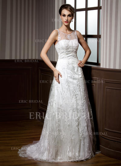 Elegant Scoop A-Line/Princess Wedding Dresses Sweep Train Lace Sleeveless (002196843)
