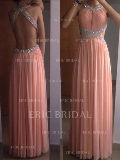 A-Line/Princess Scoop Neck Floor-Length Prom Dresses With Beading (018212211)