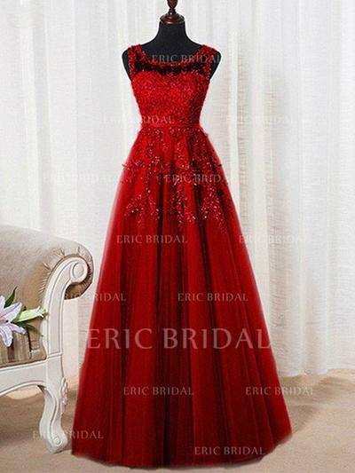 A-Line/Princess Tulle Prom Dresses Beading Scoop Neck Sleeveless Floor-Length (018210314)