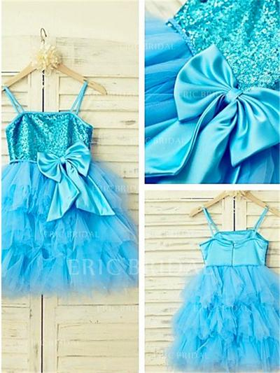 A-Line/Princess Square Neckline Knee-length With Bow(s) Tulle/Sequined Flower Girl Dresses (010211987)