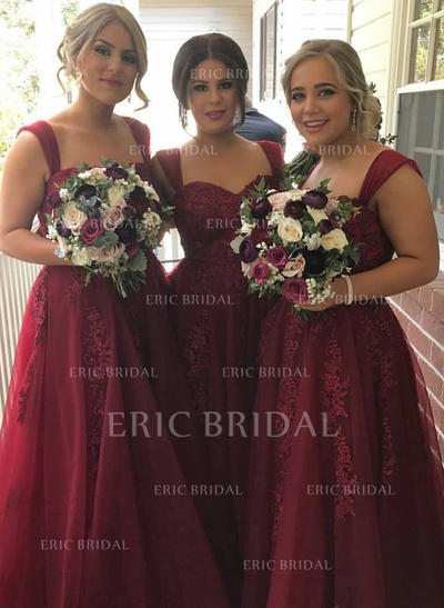 A-Line/Princess Sweetheart Floor-Length Bridesmaid Dresses With Appliques Lace (007145047)
