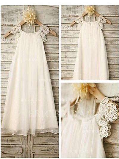 A-Line/Princess Scoop Neck Tea-length With Lace Chiffon Flower Girl Dresses (010211752)
