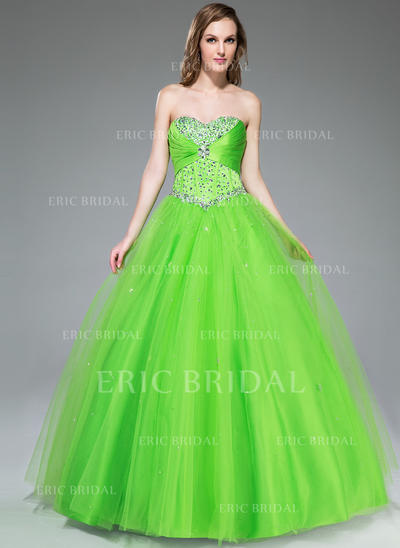 Ball-Gown Sweetheart Floor-Length Prom Dresses With Ruffle Beading Sequins (018047243)