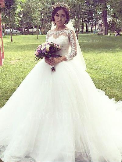 Stunning Off-The-Shoulder Ball-Gown Wedding Dresses Court Train Tulle 3/4 Length Sleeves (002210861)