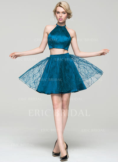A-Line/Princess Scoop Neck Short/Mini Tulle Lace Homecoming Dresses (022214091)
