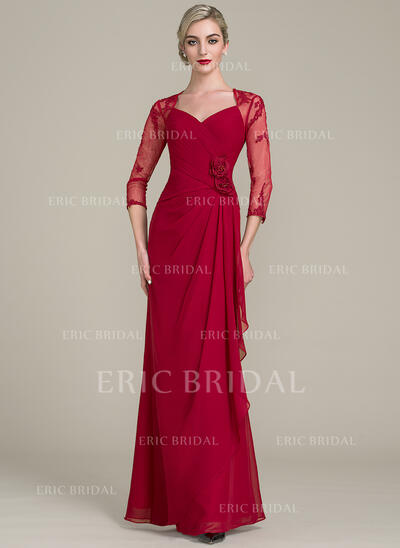 A-Line/Princess Sweetheart Floor-Length Chiffon Lace Evening Dress With Beading Flower(s) Sequins Cascading Ruffles (017113534)