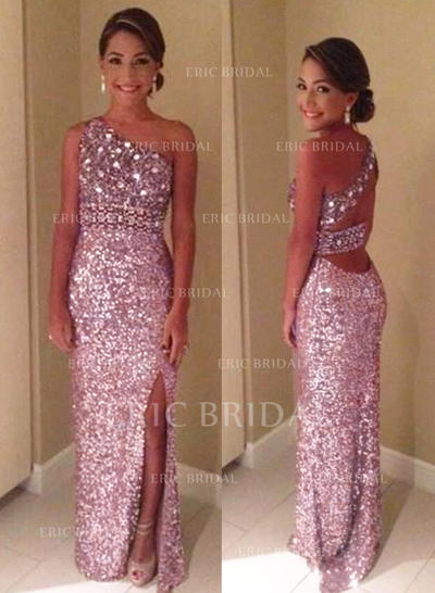Sheath/Column Sequined Prom Dresses Split Front One-Shoulder Sleeveless Floor-Length (018210221)