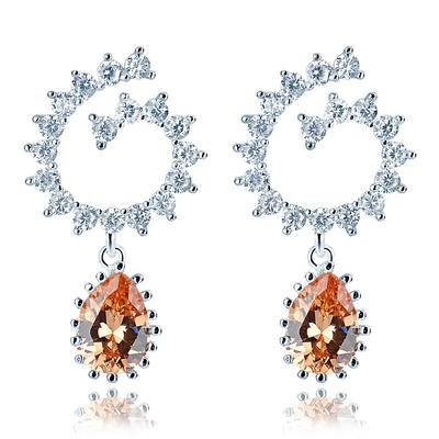 Earrings Zircon/Platinum Plated Pierced Ladies' Attractive Wedding & Party Jewelry (011166737)