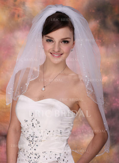 Elbow Bridal Veils Tulle Two-tier Classic With Beaded Edge Wedding Veils (006150827)