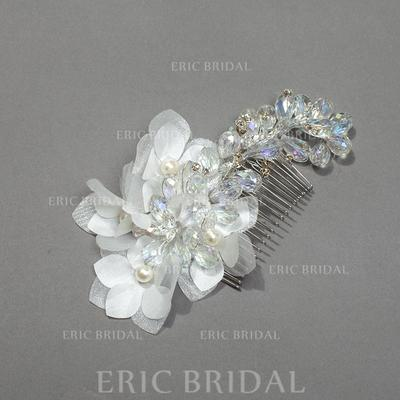 """Combs & Barrettes Wedding/Special Occasion/Party Crystal/Rhinestone/Silk Flower 3.94""""(Approx.10cm) 1.97""""(Approx.5cm) Headpieces (042156044)"""