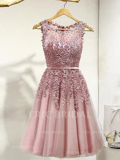 A-Line/Princess Tulle Prom Dresses Lace Beading Scoop Neck Sleeveless Knee-Length (018148251)