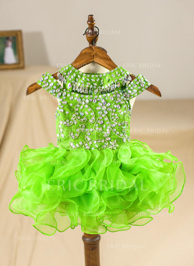 A-Line/Princess Scoop Neck Knee-length With Beading/Back Hole Organza Flower Girl Dresses (010211648)
