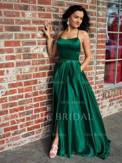 A-Line/Princess Square Neckline Sweep Train Prom Dresses With Ruffle Split Front (018219277)