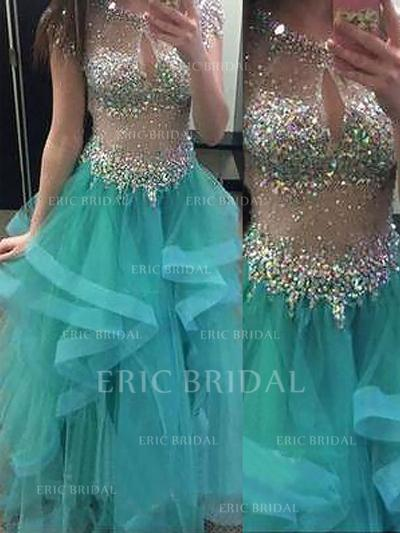 Ball-Gown Organza Prom Dresses Beading Scoop Neck Short Sleeves Floor-Length (018210340)