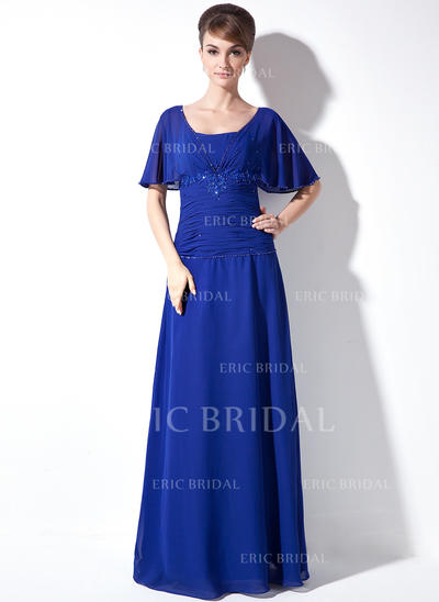 A-Line/Princess Chiffon Short Sleeves Square Neckline Floor-Length Zipper Up Mother of the Bride Dresses (008003502)