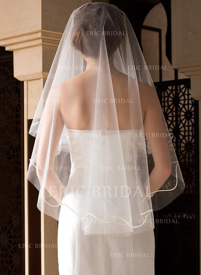 Fingertip Bridal Veils Tulle One-tier Classic With Cut Edge Wedding Veils (006151502)