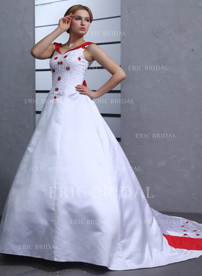 Ball-Gown Sweetheart Chapel Train Wedding Dresses With Beading Bow(s) (002211285)