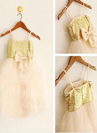 A-Line/Princess Straps Knee-length With Bow(s) Tulle/Sequined Flower Girl Dresses (010211906)
