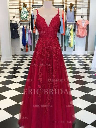 A-Line/Princess V-neck Floor-Length Prom Dresses With Appliques Lace (018218085)