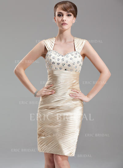 Sheath/Column Sweetheart Knee-Length Mother of the Bride Dresses With Ruffle Beading (008211029)