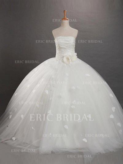 Ball Gown Strapless Sweep Train With Flower(s)/Rose Petals Tulle Flower Girl Dresses (010211802)