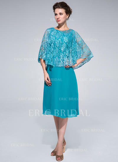 Sheath/Column Chiffon Lace 1/2 Sleeves Scoop Neck Knee-Length Zipper Up at Side Mother of the Bride Dresses (008211097)