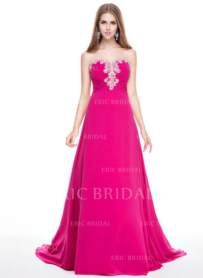 A-Line/Princess Sweetheart Sweep Train Prom Dresses With Ruffle Beading Sequins (018056802)