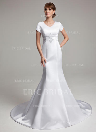 Trumpet/Mermaid Sweetheart Chapel Train Wedding Dresses With Ruffle Appliques Lace (002001670)