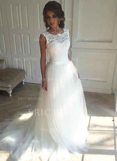 A-Line/Princess Tulle Sleeveless Square Court Train Wedding Dresses (002147809)