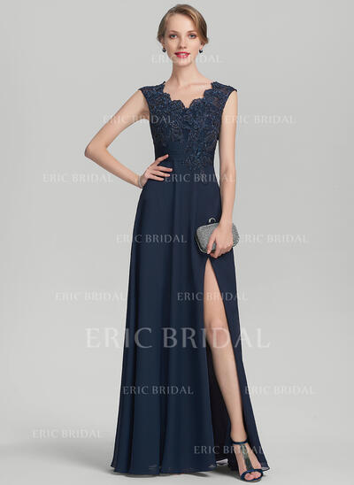 A-Line/Princess V-neck Floor-Length Chiffon Lace Mother of the Bride Dress With Beading Split Front (008131937)