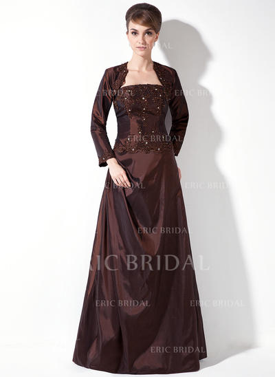 A-Line/Princess Taffeta Bridesmaid Dresses Ruffle Beading Appliques Lace Strapless Sleeveless Floor-Length (007002100)