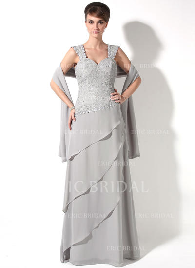 A-Line/Princess Sweetheart Floor-Length Mother of the Bride Dresses With Beading Cascading Ruffles (008211229)