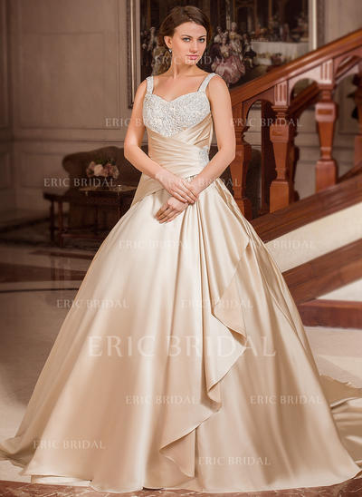 Ball-Gown Sweetheart Court Train Wedding Dresses With Lace Beading Cascading Ruffles (002210415)