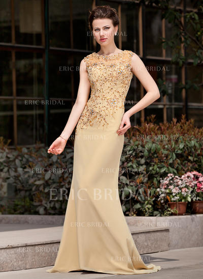 Trumpet/Mermaid Chiffon Sleeveless Scoop Neck Sweep Train Zipper Up Mother of the Bride Dresses (008211076)