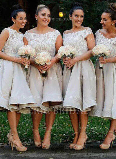 A-Line/Princess Satin Lace Bridesmaid Dresses Off-the-Shoulder Sleeveless Knee-Length (007145022)