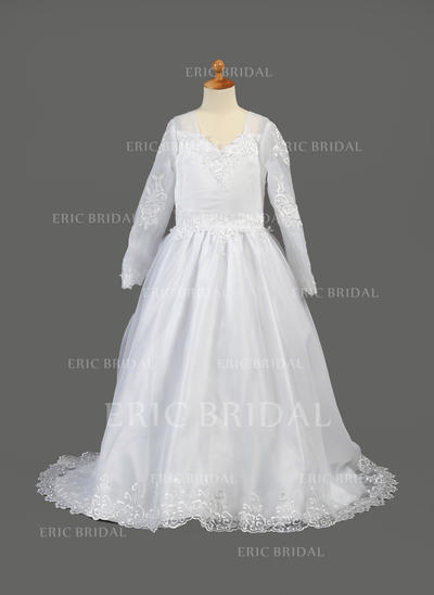 Flattering V-neck A-Line/Princess Flower Girl Dresses Sweep Train Organza Long Sleeves (010005886)