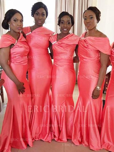 Trumpet/Mermaid Satin Bridesmaid Dresses Ruffle Beading Off-the-Shoulder Sleeveless Floor-Length (007211693)