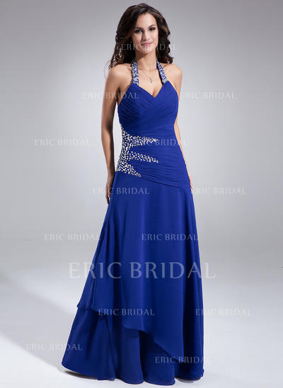 A-Line/Princess Chiffon Sleeveless Halter Floor-Length Lace Up Mother of the Bride Dresses (008210455)
