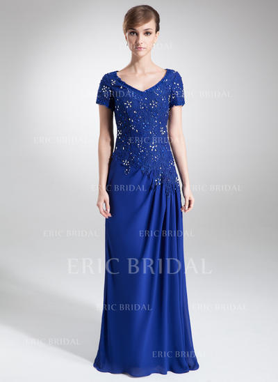 A-Line/Princess Chiffon Lace Short Sleeves V-neck Sweep Train Zipper Up Mother of the Bride Dresses (008006160)