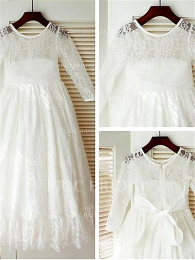A-Line/Princess Scoop Neck Ankle-length With Bow(s) Lace Flower Girl Dresses (010211910)